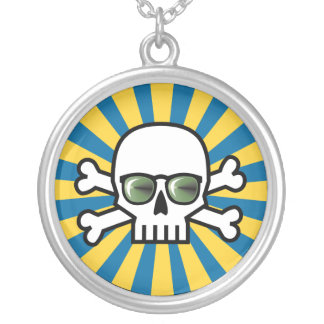 Blind Skull Round Pendant Necklace