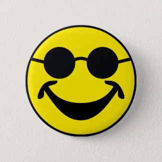 Blind Smiley yellow + your backg. & ideas 6 Cm Round Badge