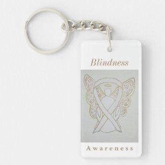 Blindness Awareness White Ribbon Keychain