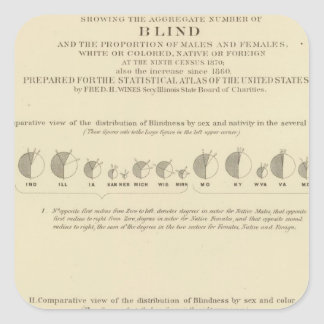 Blindness, Statistical US Lithograph 1870 Square Sticker