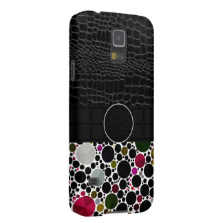 Bling Abstract Leather Monogram Galaxy S5 Covers