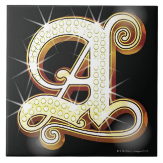 Bling alphabet A Large Square Tile