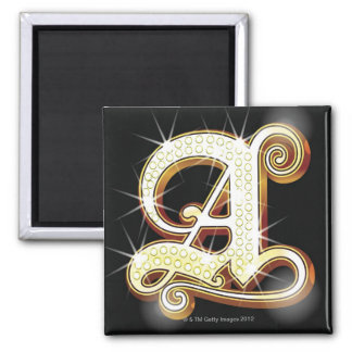 Bling alphabet A Square Magnet