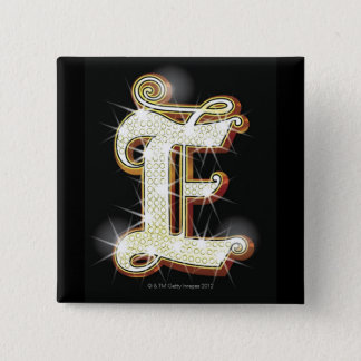 Bling alphabet E 15 Cm Square Badge