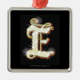 Bling alphabet E Silver-Colored Square Decoration