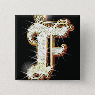 Bling alphabet F 15 Cm Square Badge