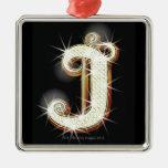 Bling alphabet J Christmas Tree Ornaments