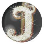 Bling alphabet J Dinner Plates
