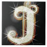 Bling alphabet J Large Square Tile