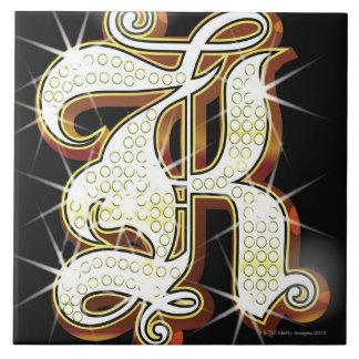 Bling alphabet K Large Square Tile
