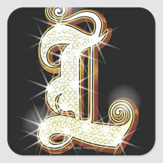Bling alphabet L Square Sticker