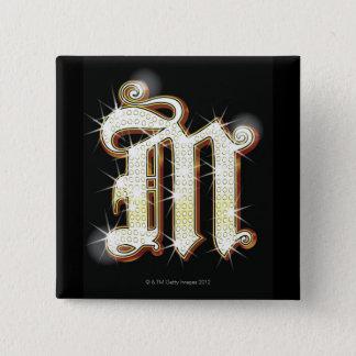 Bling alphabet M 15 Cm Square Badge