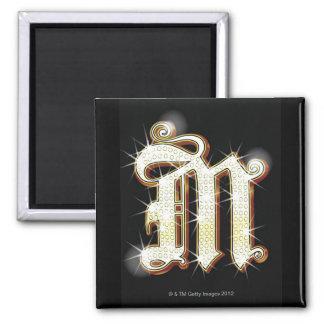 Bling alphabet M Magnet