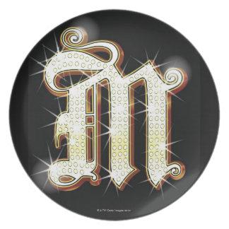Bling alphabet M Plate