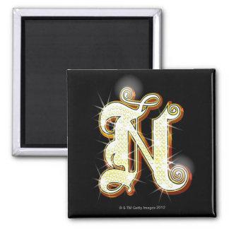 Bling alphabet N Fridge Magnet