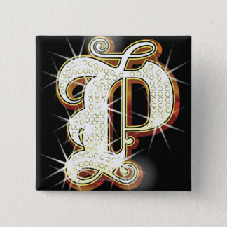 Bling alphabet P 15 Cm Square Badge