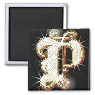 Bling alphabet P Square Magnet
