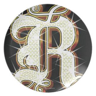 Bling alphabet R Plate