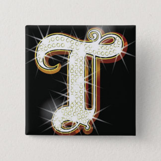 Bling alphabet T 15 Cm Square Badge