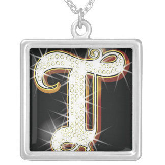 Bling alphabet T Silver Plated Necklace
