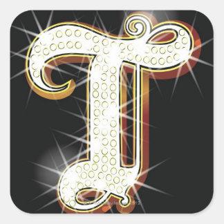 Bling alphabet T Square Sticker