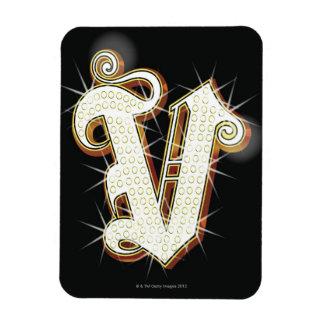 Bling alphabet V Vinyl Magnets