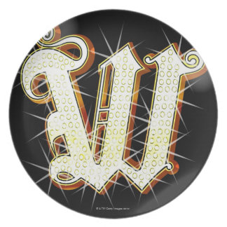 Bling alphabet W Plate