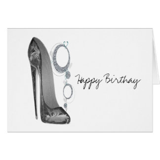 Bling and Groovy Stiletto Shoe Art Greeting Card