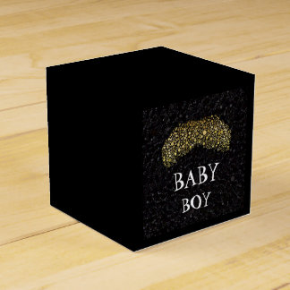Bling black/Gold Moustache Party Favour Box