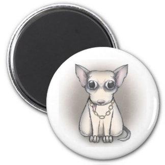 Bling bling dog 6 cm round magnet