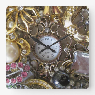 bling bling jewelry collection square wall clock