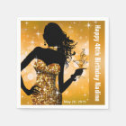 Bling Bombshell Sparkle Birthday Party   gold Disposable Serviette