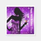 Bling Bombshell Sparkle Birthday Party   purple Paper Napkin