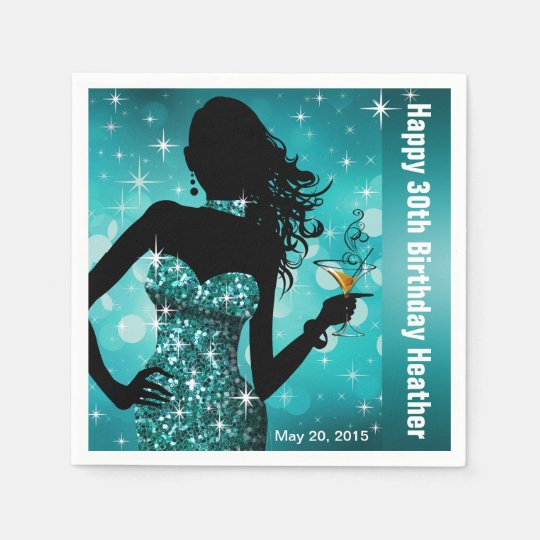 Bling Bombshell Sparkle Birthday Party   teal Disposable Napkin