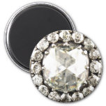 Bling Diamond Rhinestone Vintage Costume Jewellery 6 Cm Round Magnet