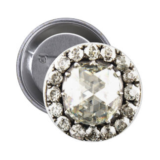 Bling Diamond Rhinestone Vintage Costume Jewelry 6 Cm Round Badge