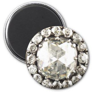 Bling Diamond Rhinestone Vintage Costume Jewelry 6 Cm Round Magnet