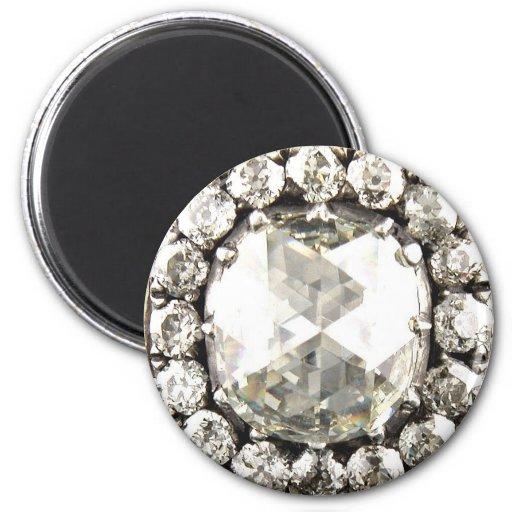 Bling Diamond Rhinestone Vintage Costume Jewelry Fridge Magnet