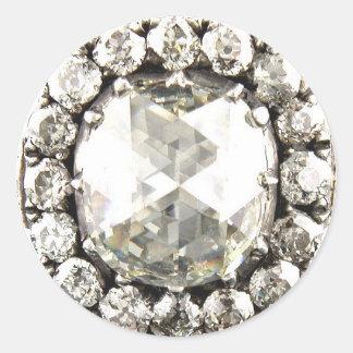Bling Diamond Rhinestone Vintage Costume Jewelry Round Sticker