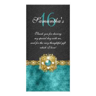 Bling gems diamond pearl damask customised photo card