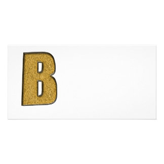 Bling Gold B Personalized Photo Card