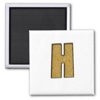 Bling Gold H Fridge Magnets