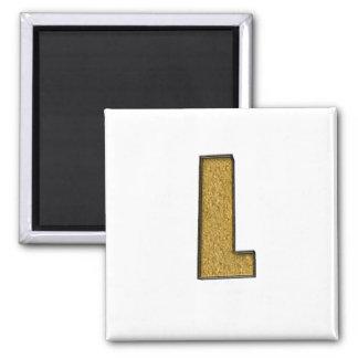 Bling Gold L Fridge Magnets