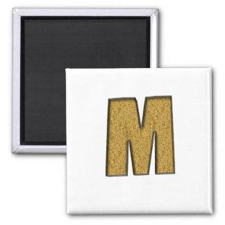 Bling Gold M Fridge Magnet