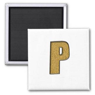 Bling Gold P Fridge Magnet