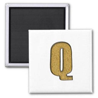 Bling Gold Q Refrigerator Magnet