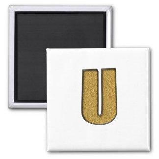 Bling Gold U Refrigerator Magnet