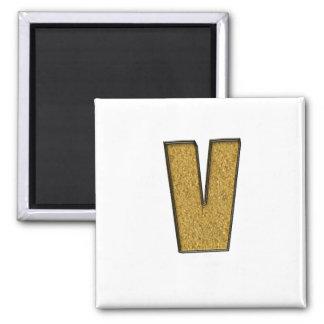 Bling Gold V Refrigerator Magnets
