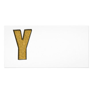 Bling Gold Y Photo Greeting Card
