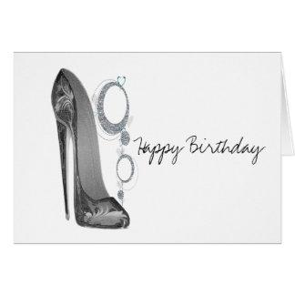 Bling & Groovy Stiletto Art Birthday Greeting Card